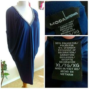 Moda International Dresses - Tunic Dress with V Neck Front & Back